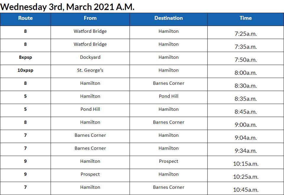 Bus cancellations AM Bermuda March 3 2021
