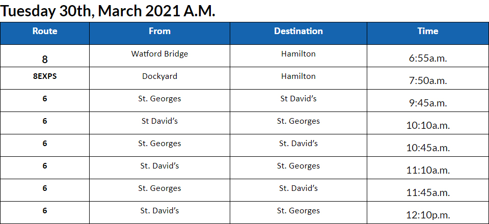 Bus cancellations AM Bermuda March 30 2021