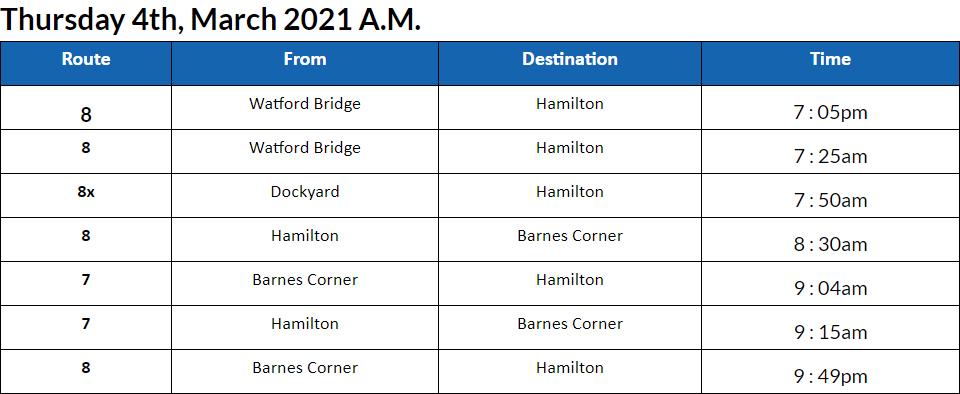 Bus cancellations AM Bermuda March 4 2021