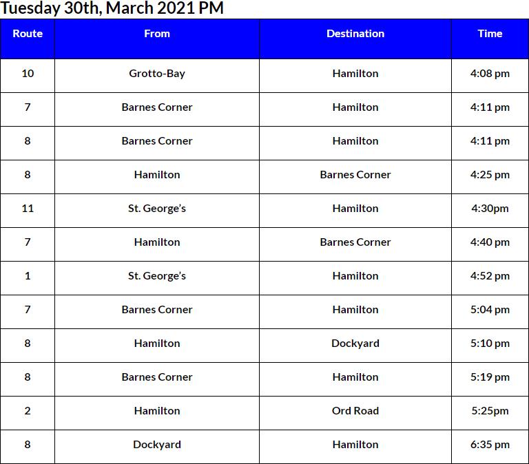 Bus cancellations PM Bermuda March 30 2021