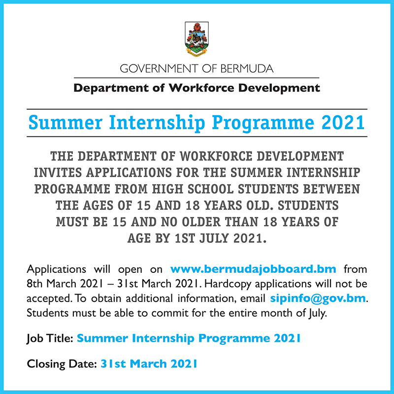 DWD Summer Internship 2021 Bermuda March 7 2021