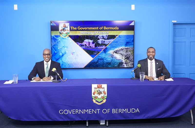 Premier David Burt and Minister Curtis Dickinson Bermuda March 2021