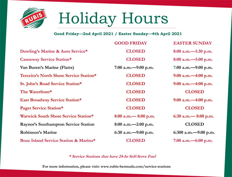 RUBiS Service Station Holiday Hours - 2021 - Good Friday & Easte
