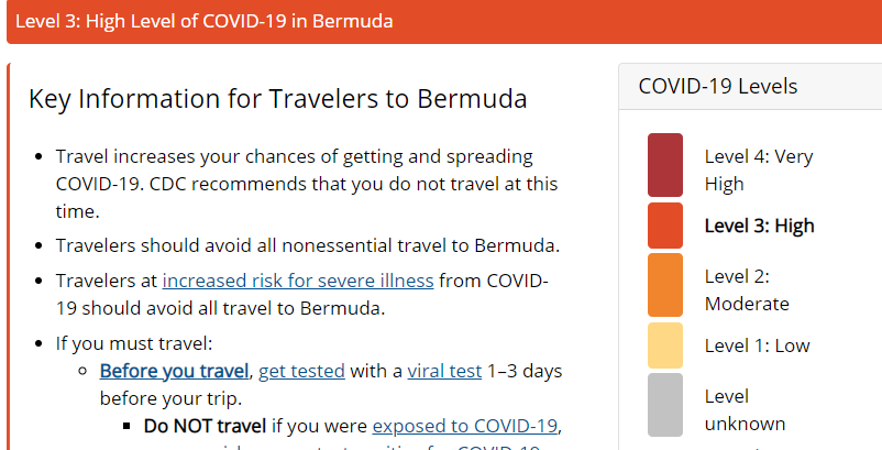 Screenshot CDC website