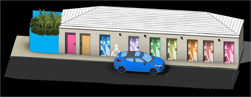 Victoria Street public bathrooms Bermuda March 2021
