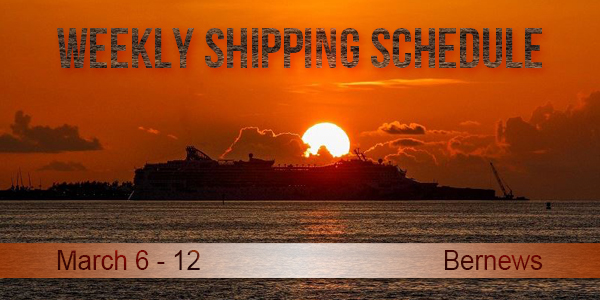 Weekly Shipping Schedule TC March 6 - 12 2021