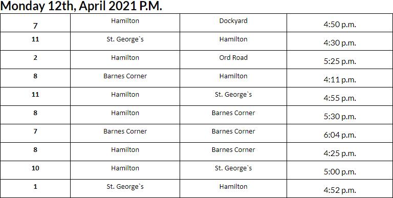Bus Cancellations PM Bermuda April 12 2021