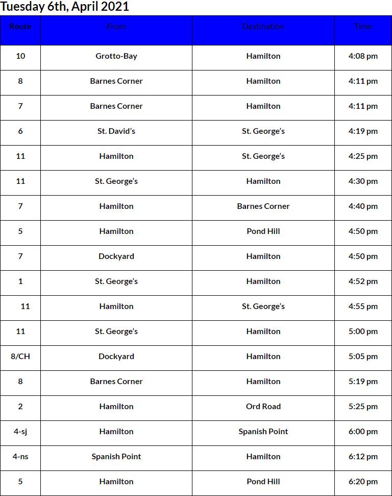 Bus Cancellations PM Bermuda April 6 2021