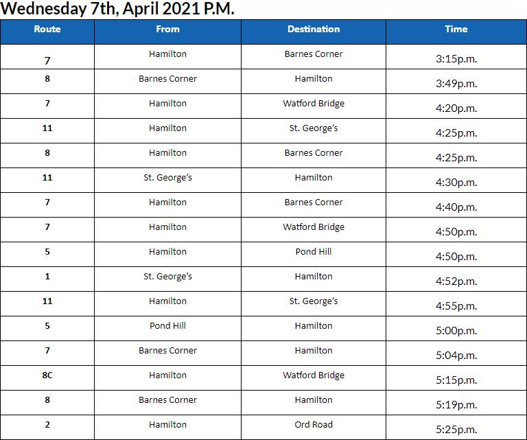 Bus Cancellations PM Bermuda April 7 2021