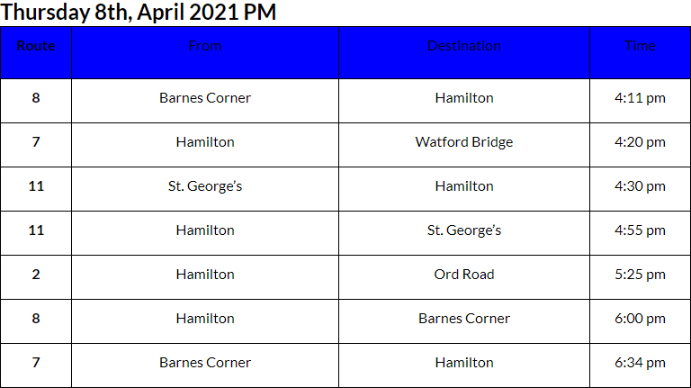 Bus Cancellations PM Bermuda April 8 2021