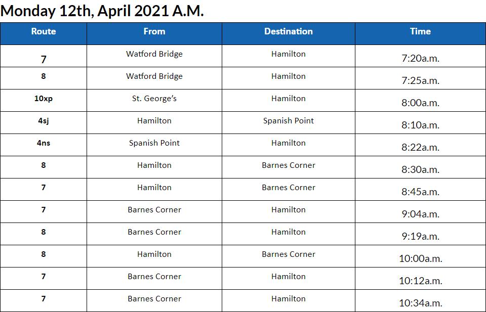 Bus cancellations AM Bermuda April 12 2021