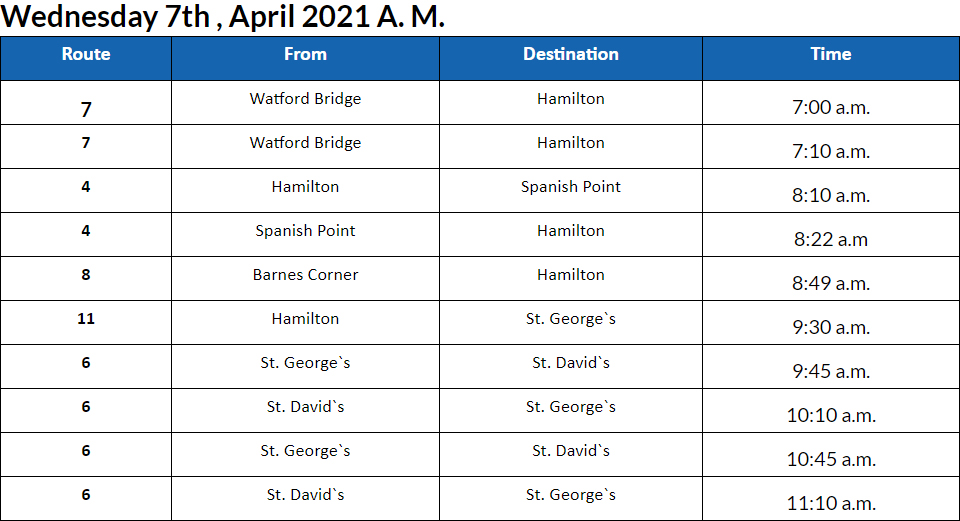 Bus cancellations AM Bermuda April 7 2021