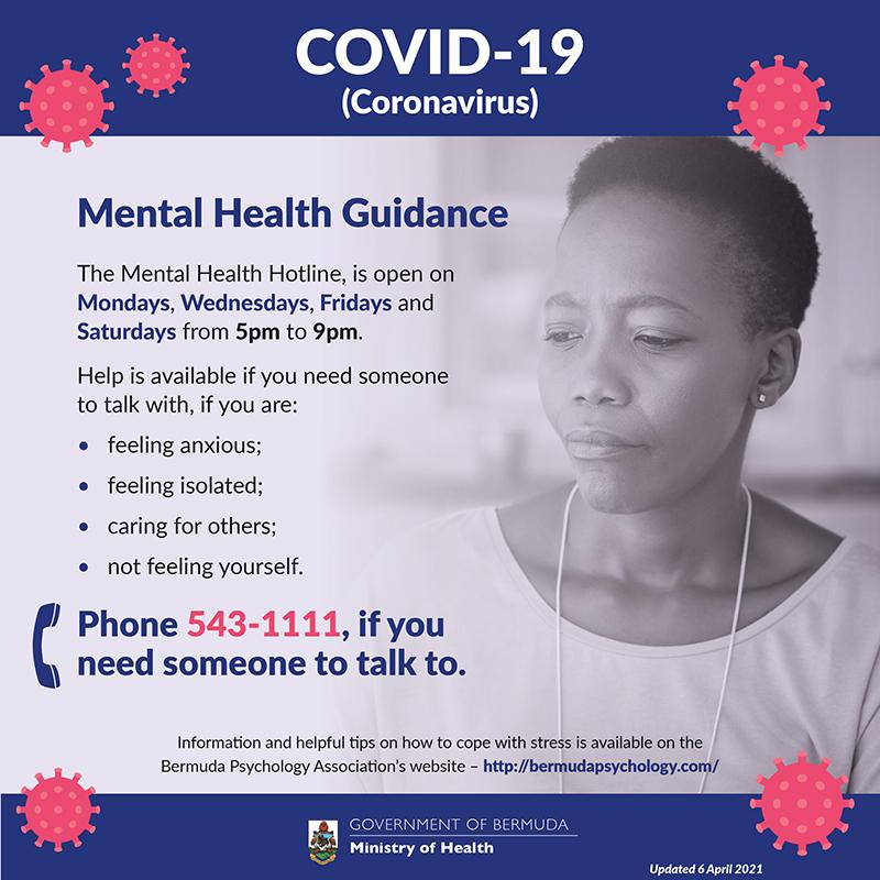 Emotional Wellbeing Hotline Bermuda April 2021