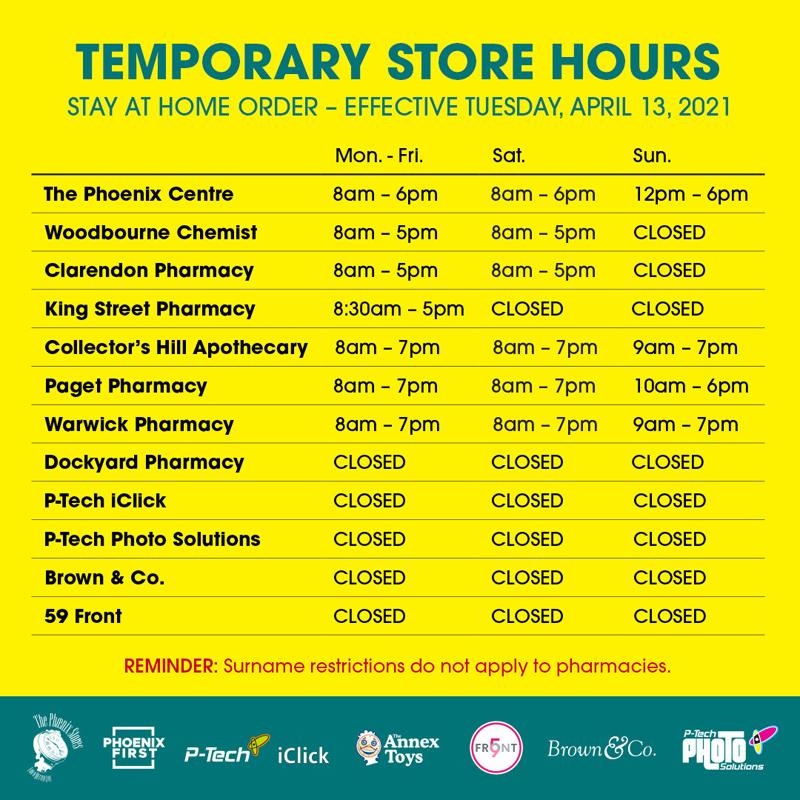 Temporary Store Hours Bermuda April 2021