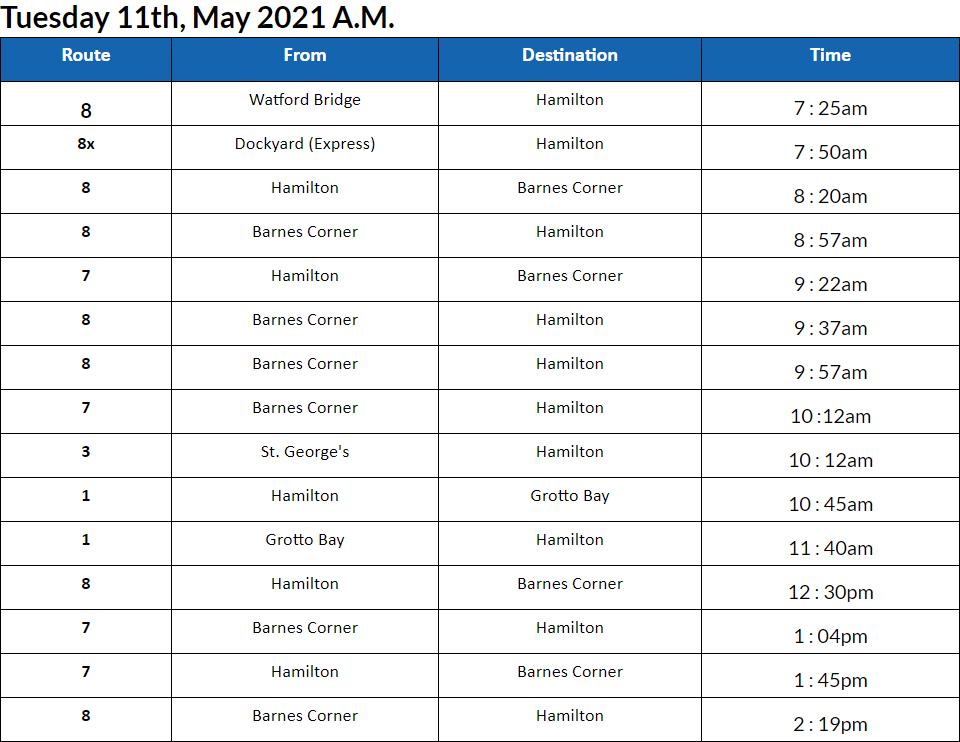 Bus Cancellations AM Bermuda May 11 2021