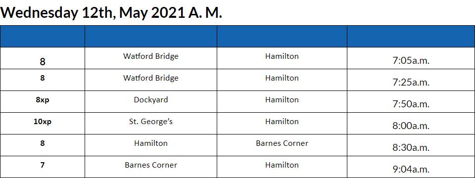 Bus Cancellations AM Bermuda May 12 2021