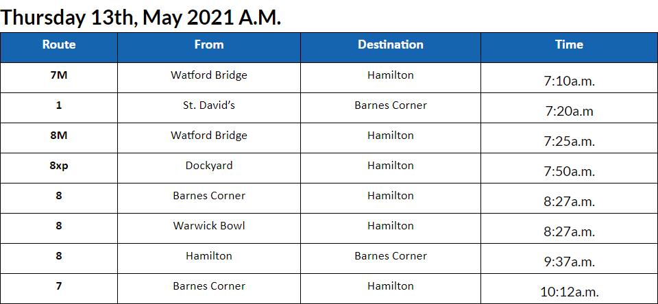Bus Cancellations AM Bermuda May 13 2021