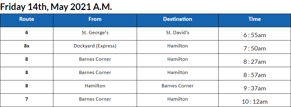 Bus Cancellations AM Bermuda May 14 2021
