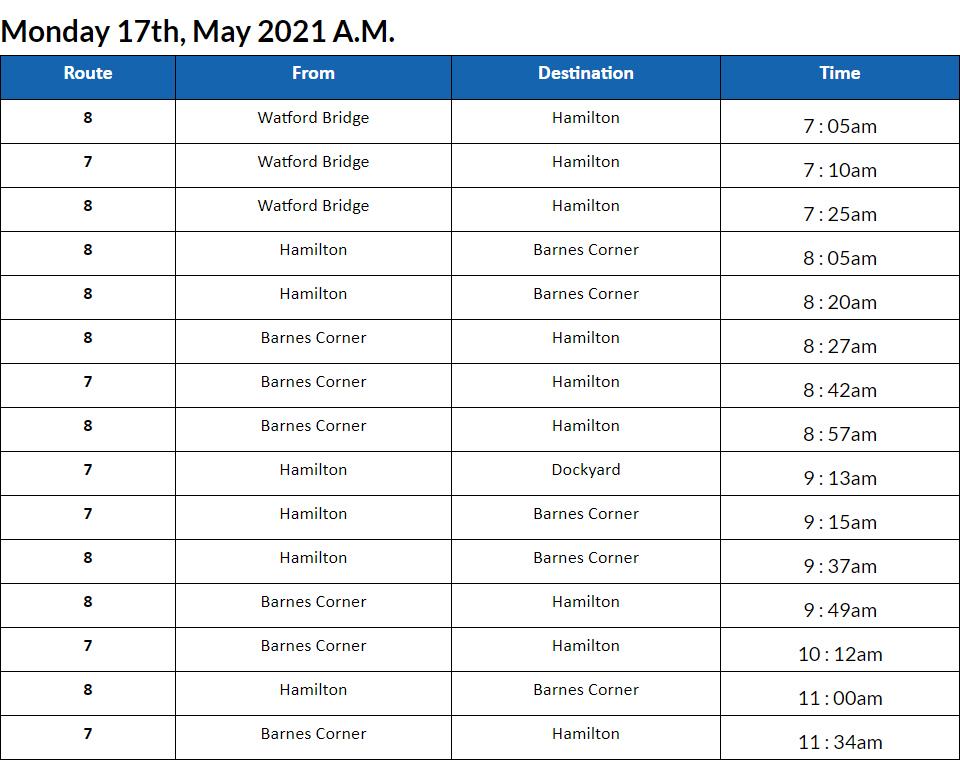 Bus Cancellations AM Bermuda May 17 2021