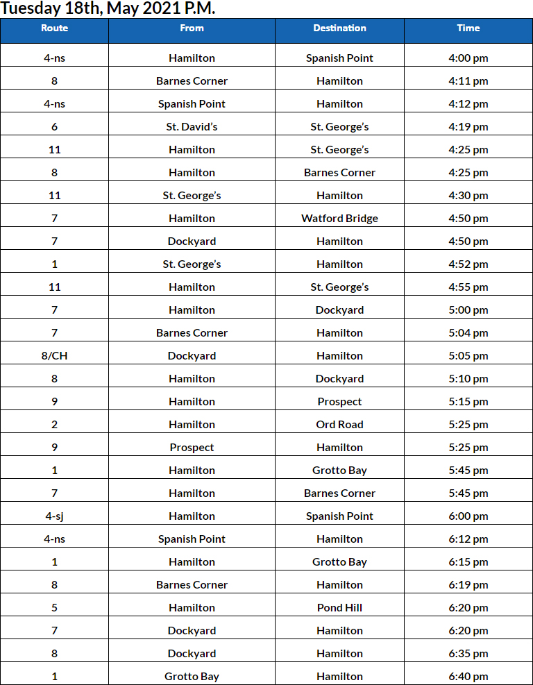 Bus Cancellations PM Bermuda May 18 2021