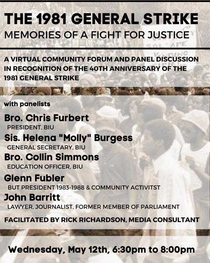 CURB Webinar Commemorating 1981 General Strike Bermuda May 2021