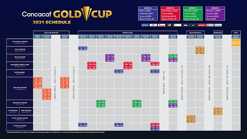 Concacaf 2021 Gold Cup Schedule Bermuda May 2021