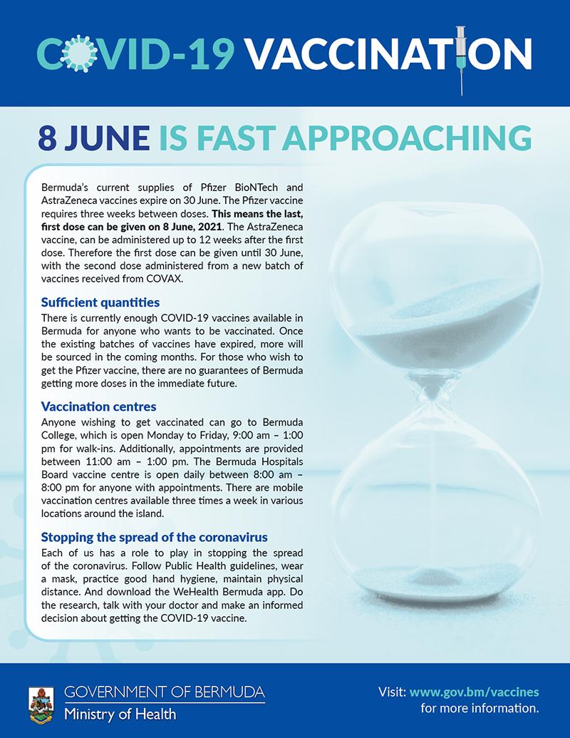 Health Ministry Vaccine Reminder Bermuda May 2021