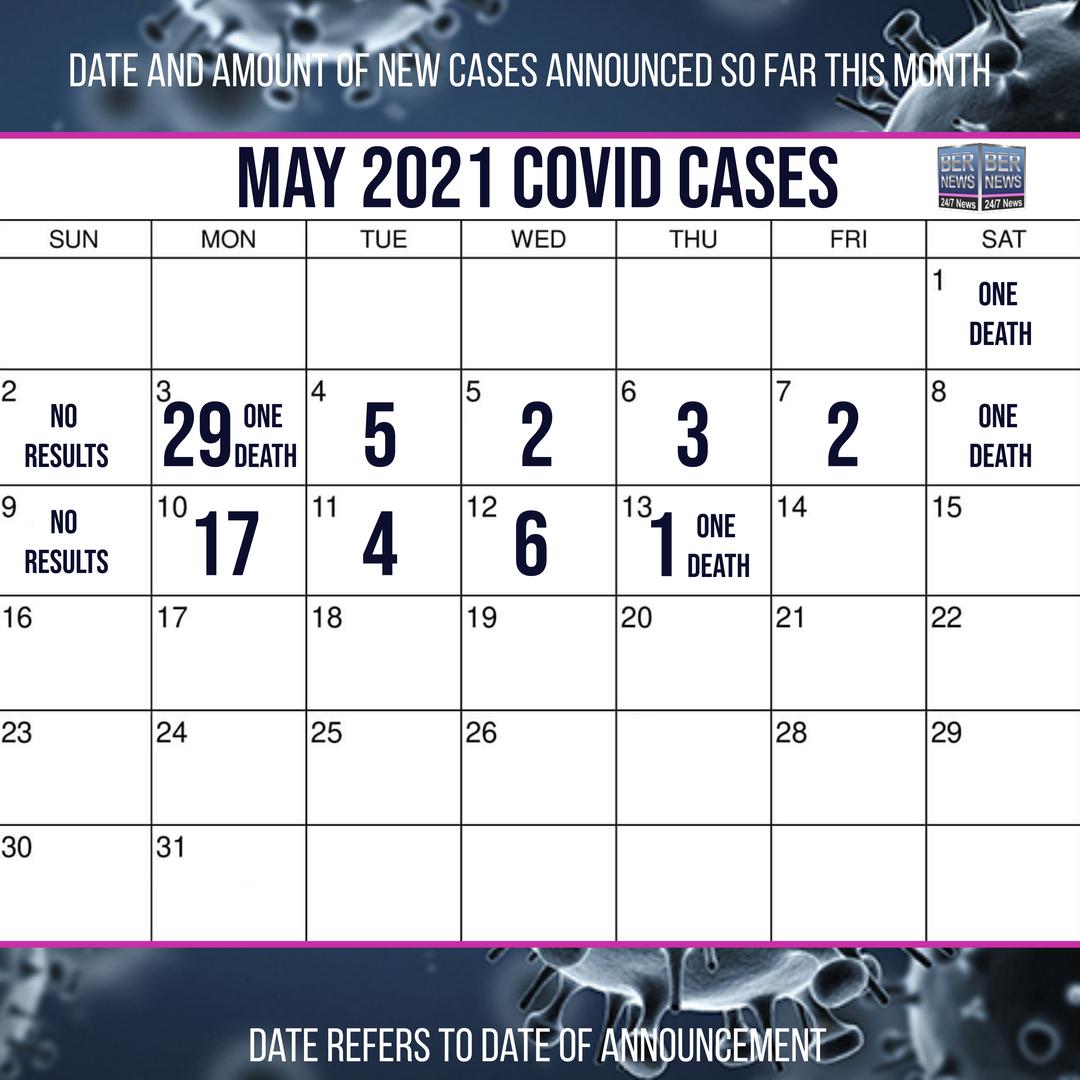 May 13 2021 Covid cases calendar Bermuda by Bernews