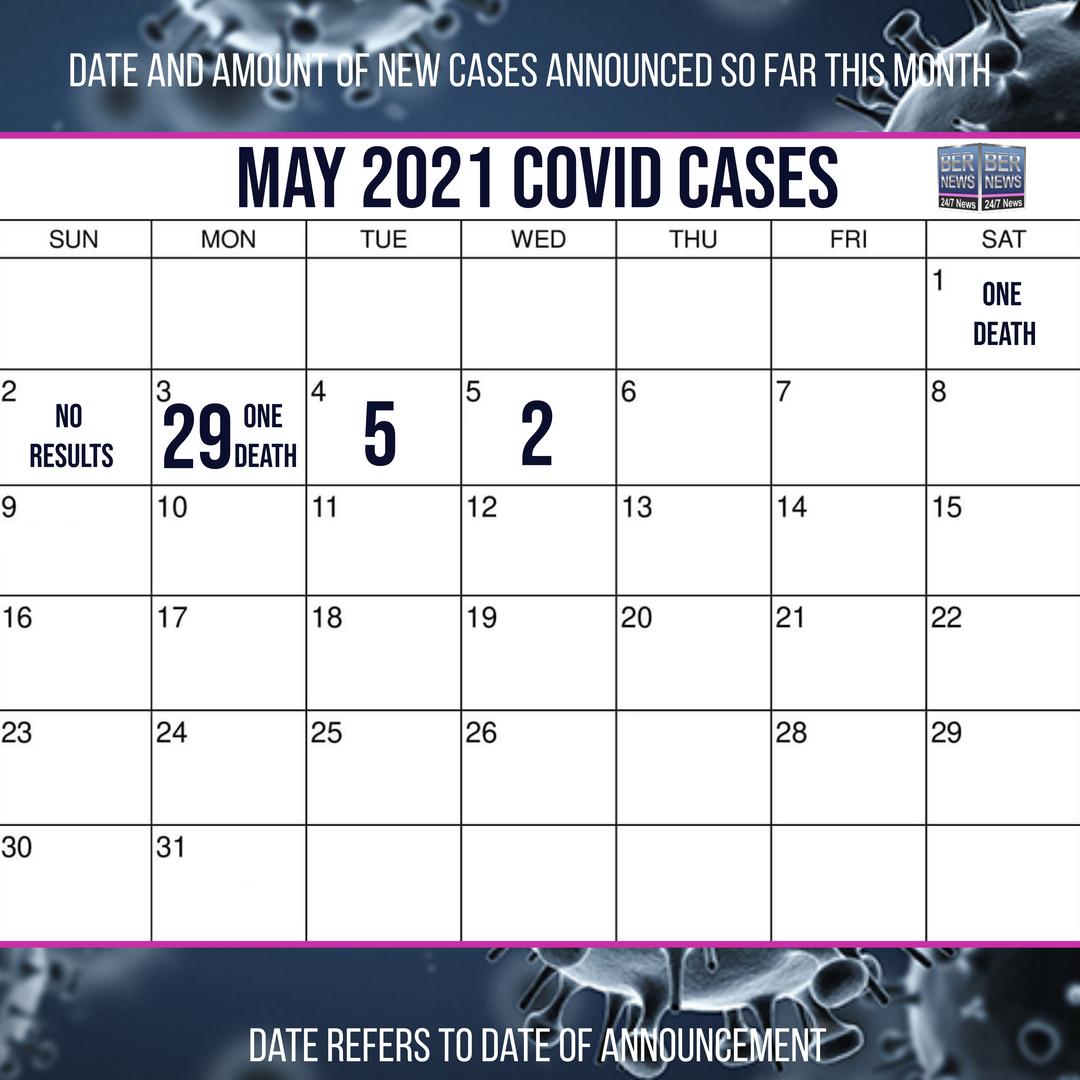 May 5 2021 Covid cases calendar Bermuda by Bernews