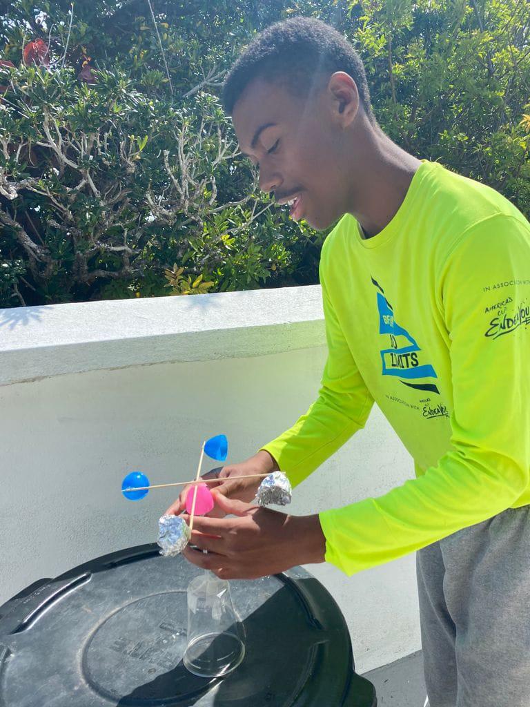 Micah and his anemometer Bermuda May 2021