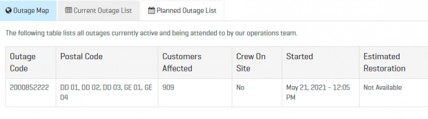 Screenshot belco outage list may 21