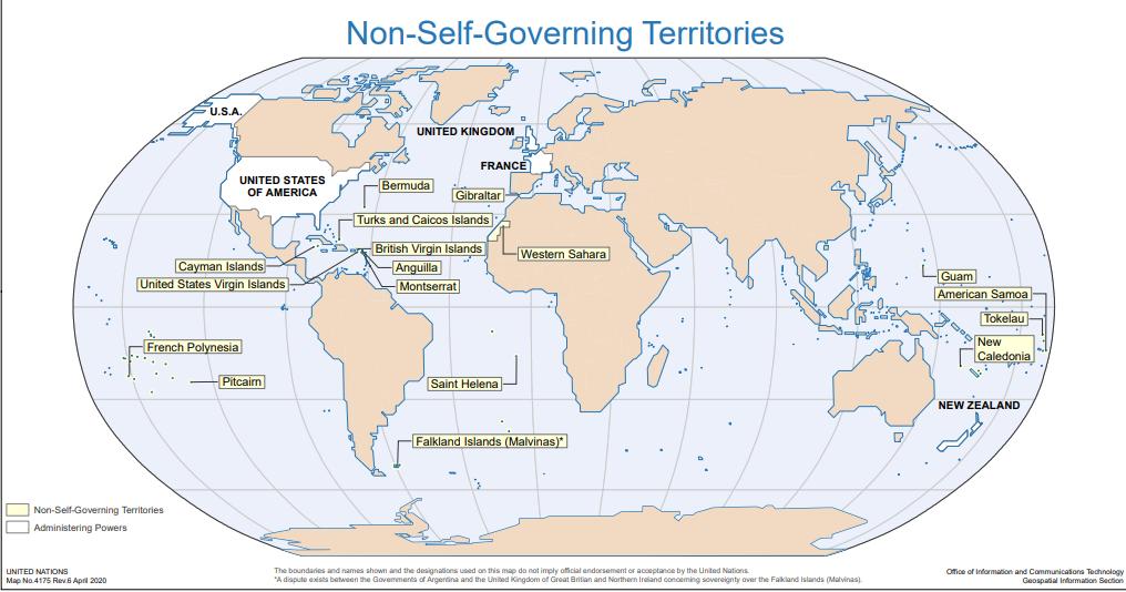 UN non self govern map 2021