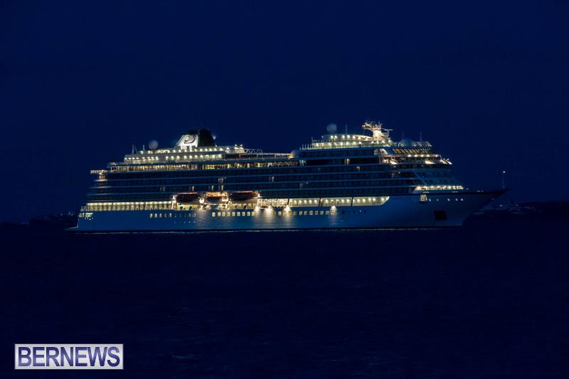 Viking Orion cruise ship in Bermuda at night May 23 2021