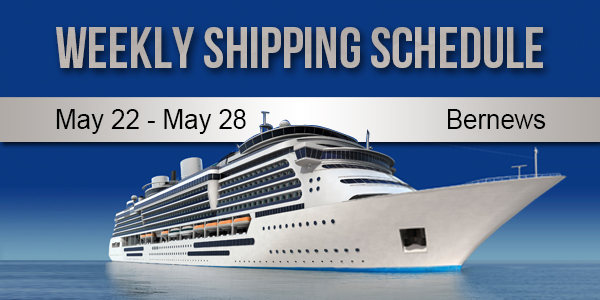 Weekly Shipping Schedule TC May 22 - 28 2021
