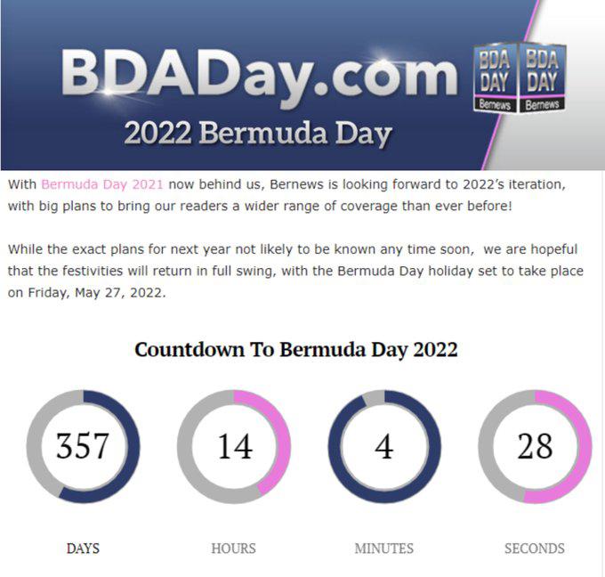 2022 Bermuda Day Countdown