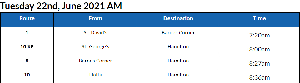 Bus Cancellations AM Bermuda June 22 2021