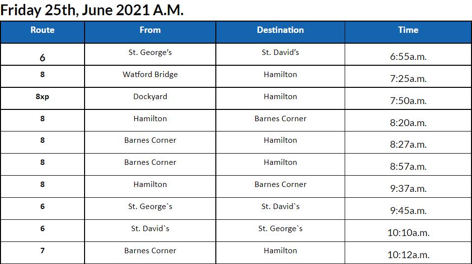 Bus Cancellations AM Bermuda June 25 2021