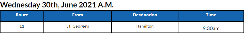 Bus Cancellations AM Bermuda June 30 2021