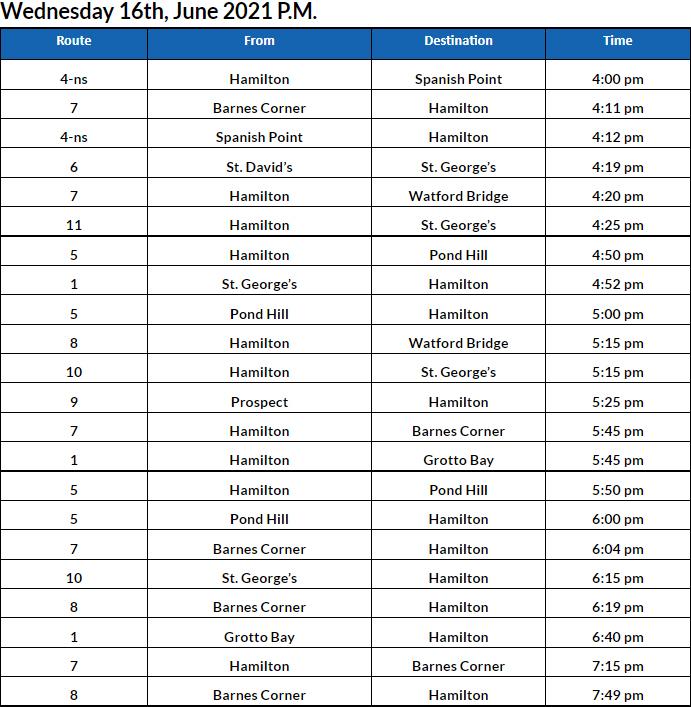 Bus Cancellations PM Bermuda June 16 2021