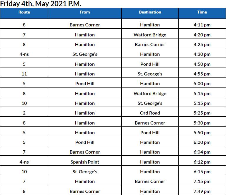 Bus Cancellations PM Bermuda June 4 2021
