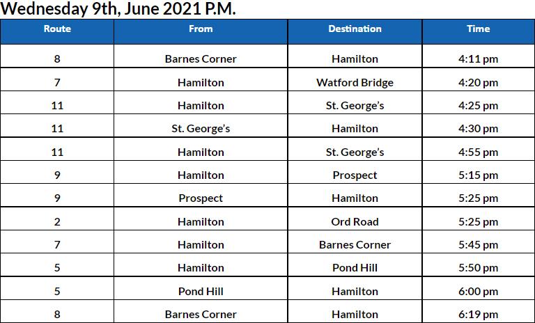 Bus Cancellations PM Bermuda June 9 2021
