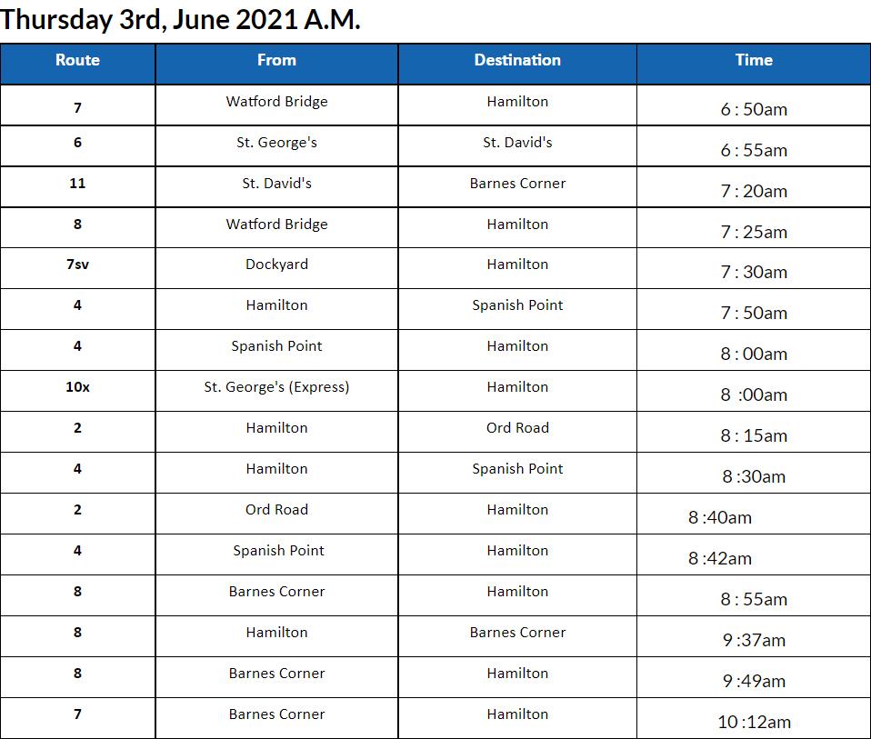 Bus cancellations AM Bermudas June 3 2021
