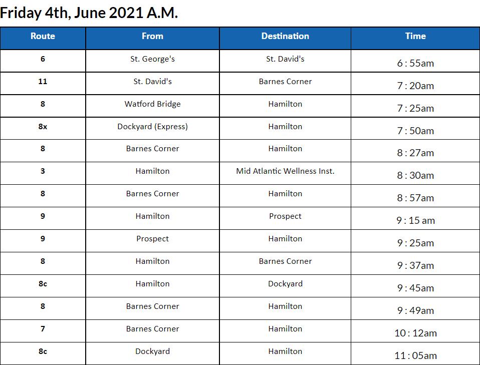 Bus cancellations AM Bermudas June 4 2021