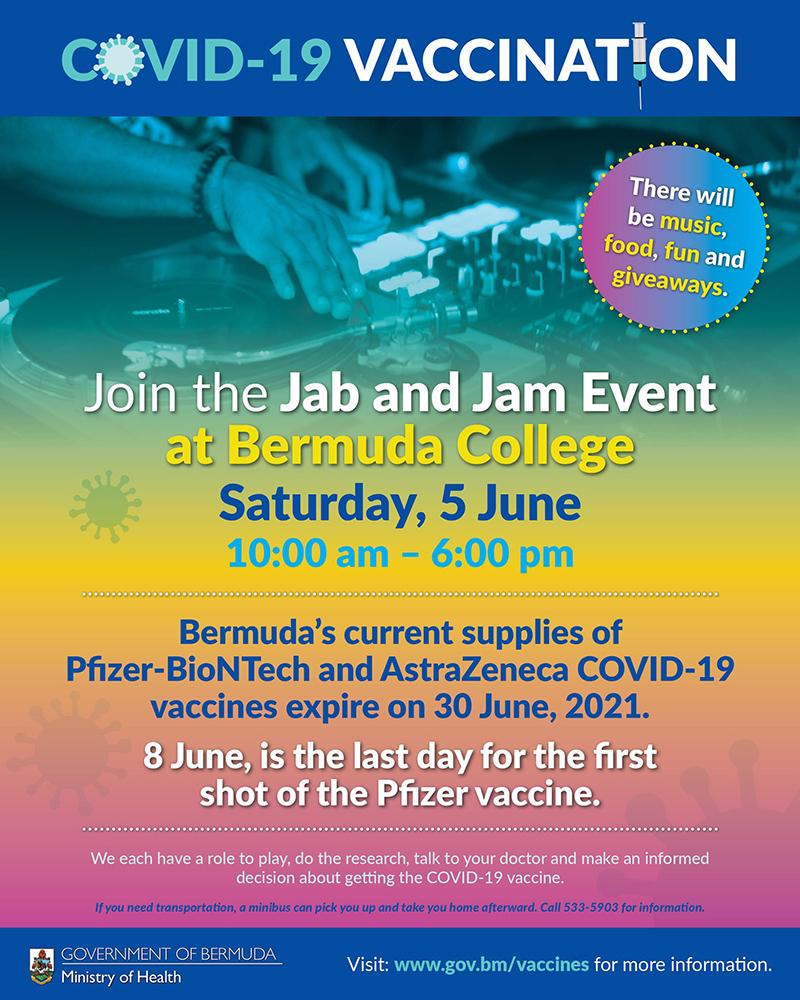 Jab & Jam Event Bermuda June 2021