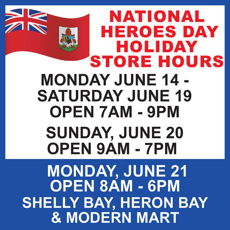 MarketPlace Heroes Days Store Hours Bermuda June 2021