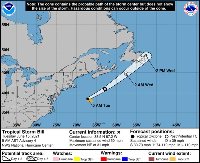 NHC Tropical Storm Bill June 15 2021