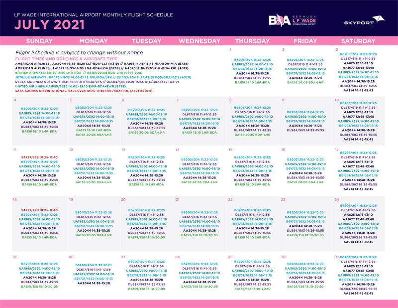 Skyport July 2021 Schedule Bermuda
