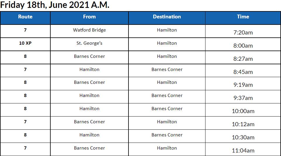 bus cancellations AM Bermuda June 18 2021