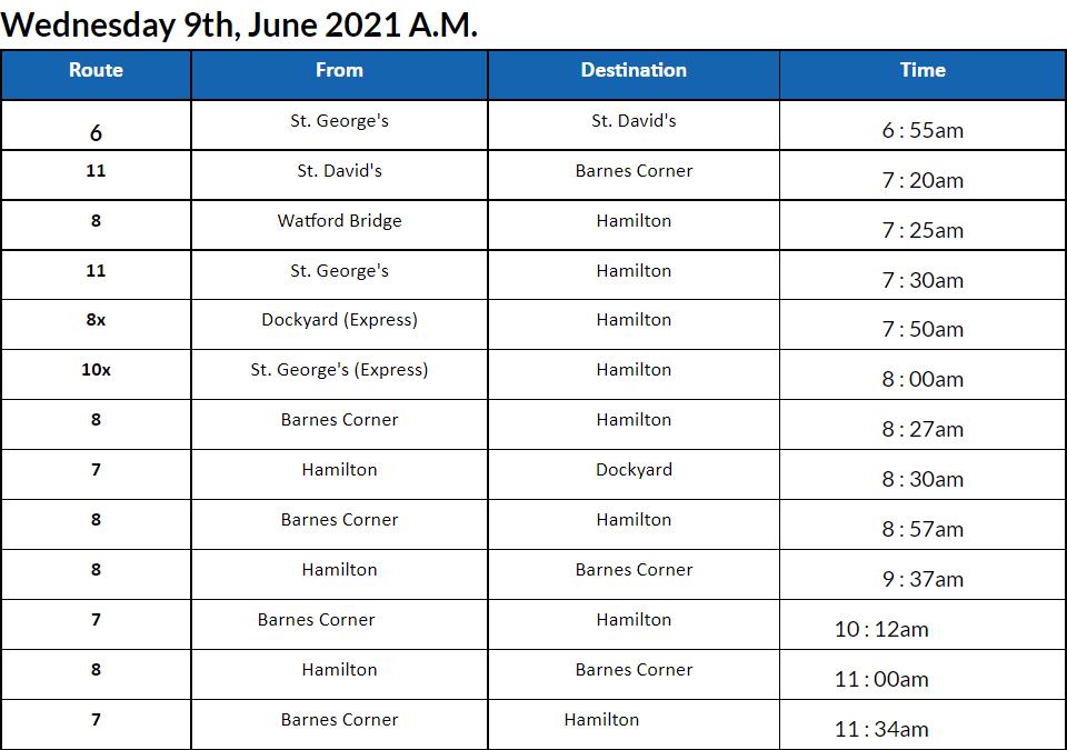 bus cancellations am Bermuda June 9 2021