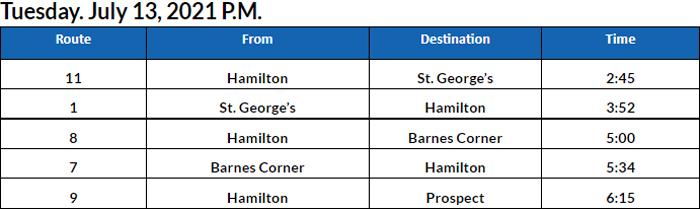 Bus Cancellations PM Bermuda July 13 2021